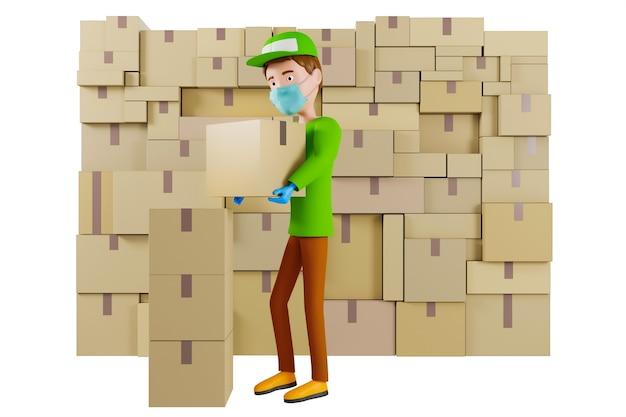 Doręczyciel w masce na twarz w zielonej koszulce i czapce trzyma karton na białym tle. ilustracja 3d.