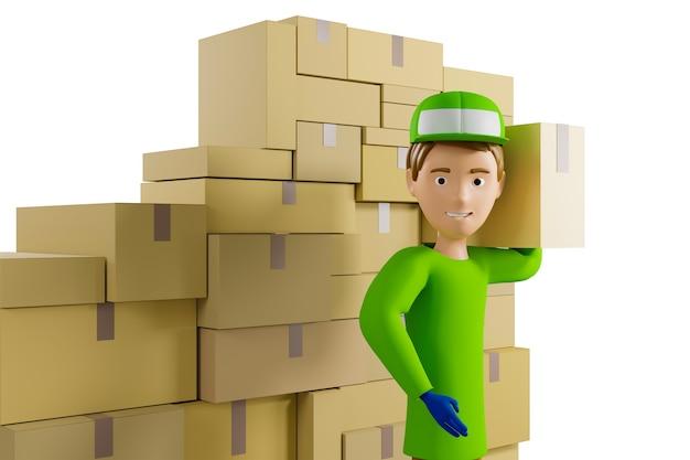 Doręczyciel w zielonej koszulce i czapce trzyma kartonowe pudło na tle paczek. odosobniony. ilustracja 3d.