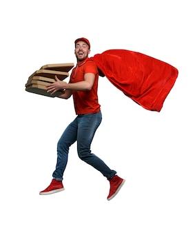 Doręczyciel z pizzą działa jak potężna koncepcja sukcesu superbohatera i gwarancja dostawy