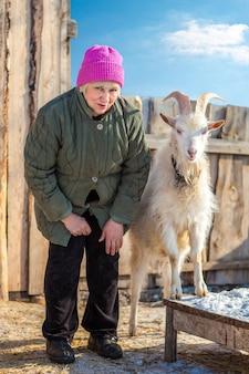 Dorosła kobieta z kozą na wsi