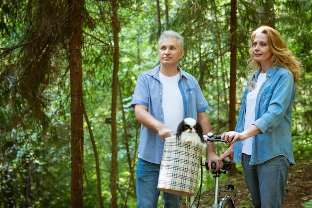 Dorosła para w dżinsowych ubraniach na spacerze po lesie z psem, który siedzi w koszu z rowerem