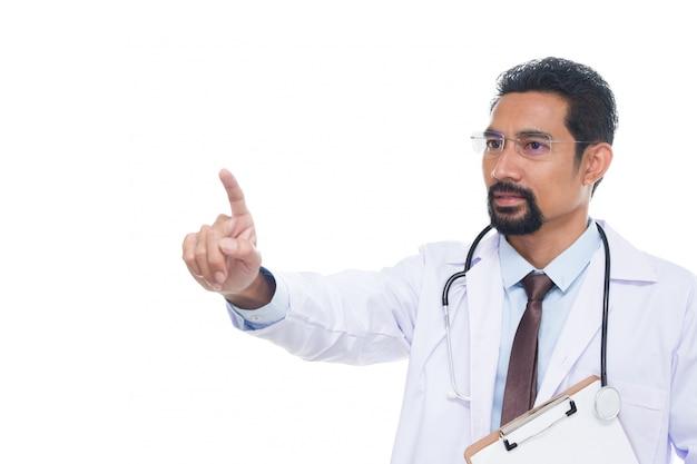 Dorośleć doktorski pokazuje gest naciska lub wskazuje coś.