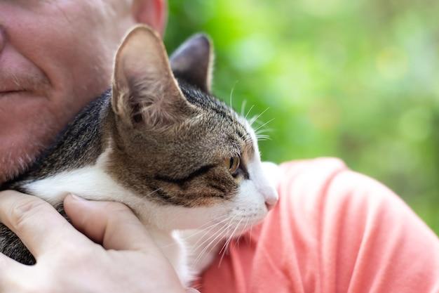 Dorosły mężczyzna trzyma kota w ramionach, trzyma go do siebie, miłość do zwierząt