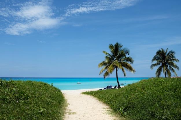 Doskonała turkusowo-niebieska woda na plaży na kubie w varadero