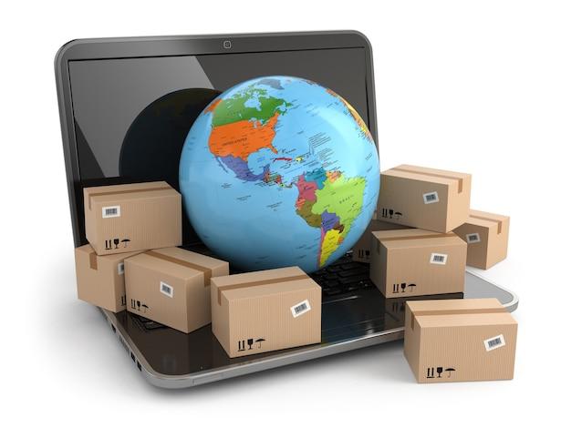 Dostarczanie na całym świecie. ziemia i pudełka na laptopie. 3d