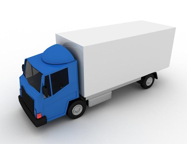 Dostawa handlowa. koncepcja ciężarówki cargo. 3d renderowana ilustracja