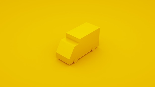 Dostawa, ilustracja 3d izometryczny żółty ciężarówka.
