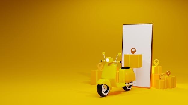 Dostawa motocykla i smartfona z pudełkiem i pinem na żółtym tle