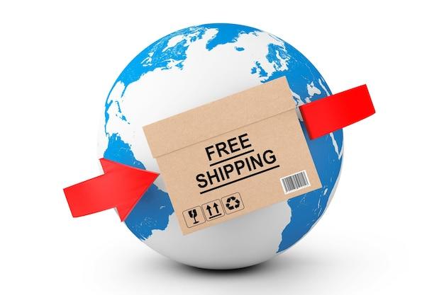 Dostawa na cały świat. bezpłatna dostawa karton z kulą ziemską na białym tle