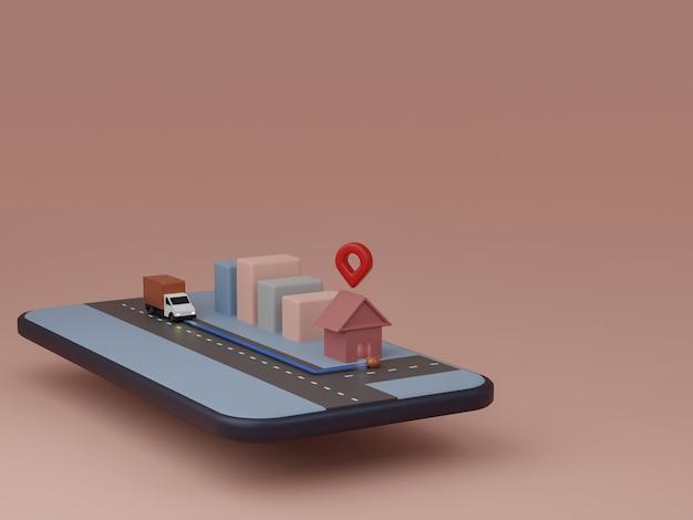 Dostawa w aplikacji na smartfony. wysyłka ciężarówek z usługą śledzenia, nawigacja online