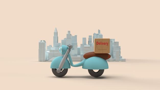 Dostawa wysyła zamówienie z motocykla rowerem, 3d rendering