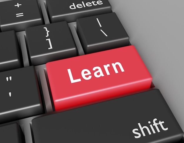 Dowiedz się koncepcji. word learn na przycisku klawiatury komputera