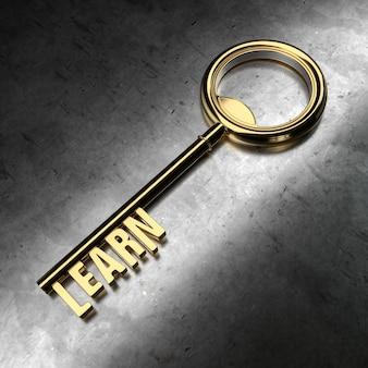 Dowiedz się - złoty klucz na czarnym metalicznym tle. renderowanie 3d