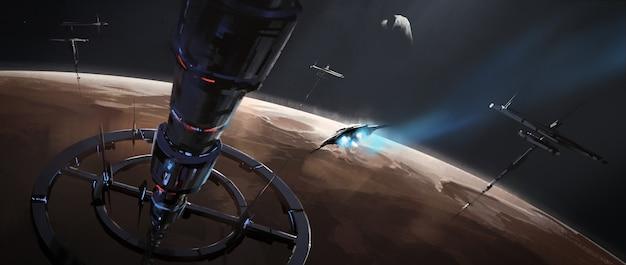 Drabina kosmiczna nad marsem, malarstwo science fiction, ilustracja 3d.
