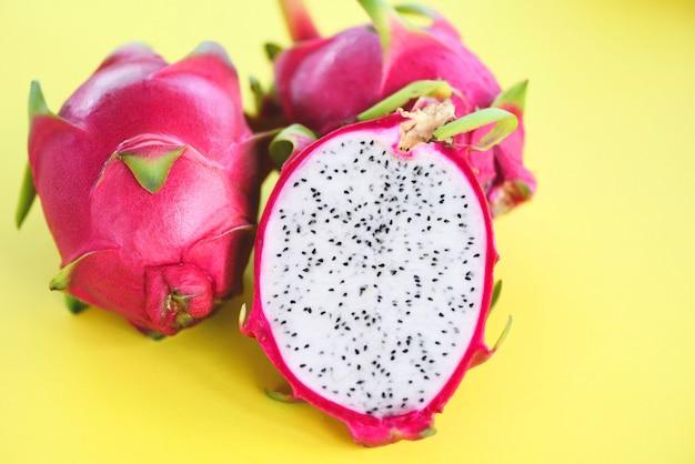 Dragon fruit slice / fresh pitaya summer tropical fruit