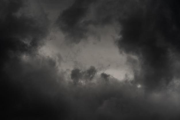 Dramatyczna chmura burzowa na zmierzchu, deszczowa i pochmurna pogoda. naturalne tło meteorologii. niewyraźny ruch, nieostrość. obraz scenerii cloudscape gotowy do projektowania, zamień niebo w edytorze zdjęć.
