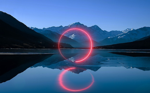 Dramatyczna scena duży księżyc światło księżyca neon nocny krajobraz odbicie w rzece morze ocean ilustracja 3d