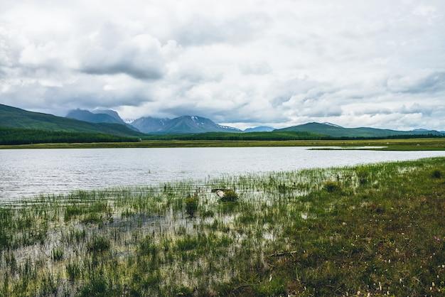 Dramatyczny krajobraz z górskim jeziorem i lasem na wzgórzach w słońcu i ośnieżonych górach w niskich chmurach przy zmiennej pogodzie. wysokie góry w zachmurzone niebo i górskie jezioro w pobliżu słonecznych wzgórz leśnych.