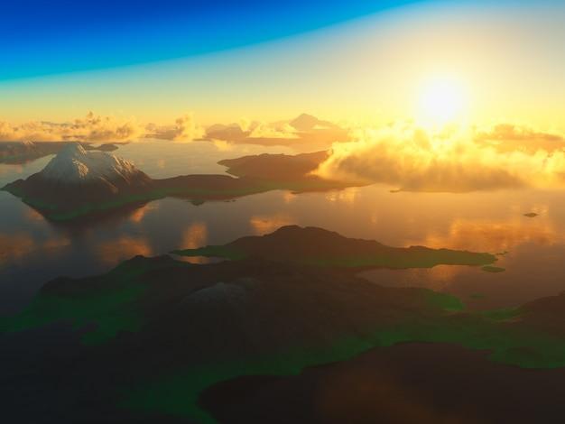 Dramatyczny zachód słońca górskiej dolinie 3d renderowania tła