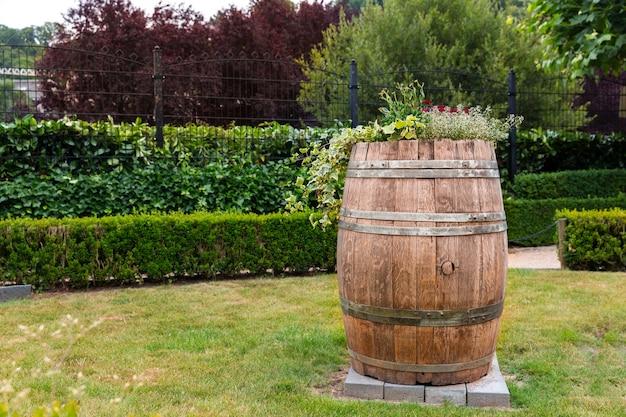 Drewniana beczka między przyciętymi krzewami, letni park w europie. profesjonalne ogrodnictwo, europejski zielony krajobraz, dekoracja roślin ogrodowych, przytulny trawnik