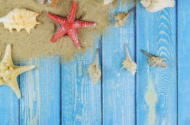 Drewniana deska z muszli i rozgwiazdy na piasku plaży