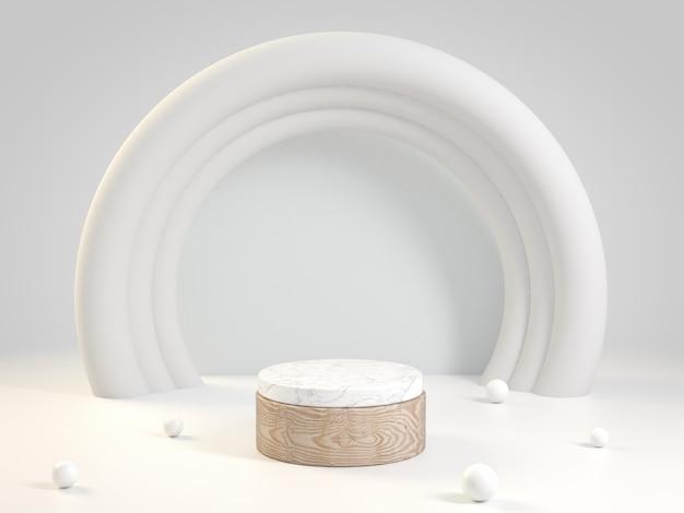 Drewniana i marmurowa scena z białą pętlą, 3d rendering.