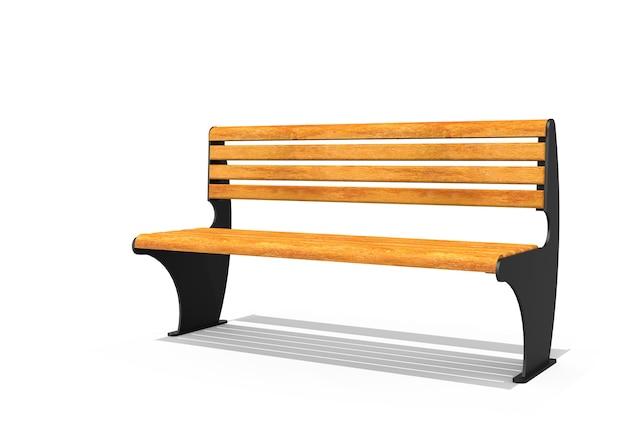 Drewniana ławka na białym tle