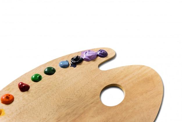 Drewniana paleta farb akrylowych