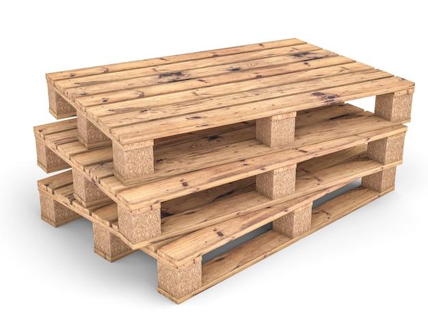 Drewniana paleta na białym tle