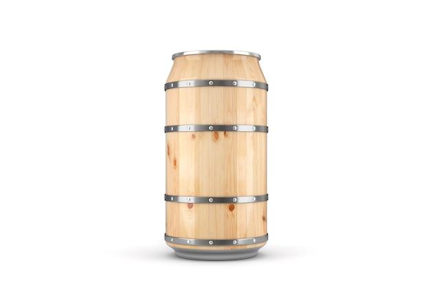 Drewniana piwna puszka na białym tle