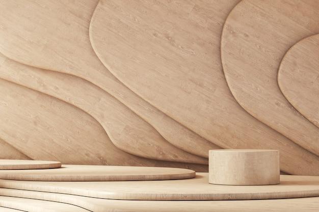 Drewniana platforma cylindryczna na krzywej ułożonej w swobodnym tle drewnianego panelu