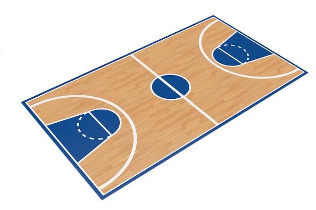 Drewniana podłoga boiska do koszykówki z liniami na białym tle. renderowanie 3d