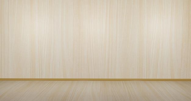 Drewniana podłoga i ściana w pustym pokoju drewniana scena puste drewniane studio
