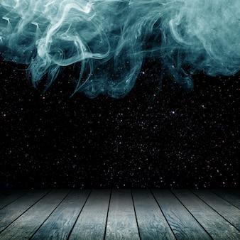 Drewniana podłoga na tle kłębów dymu
