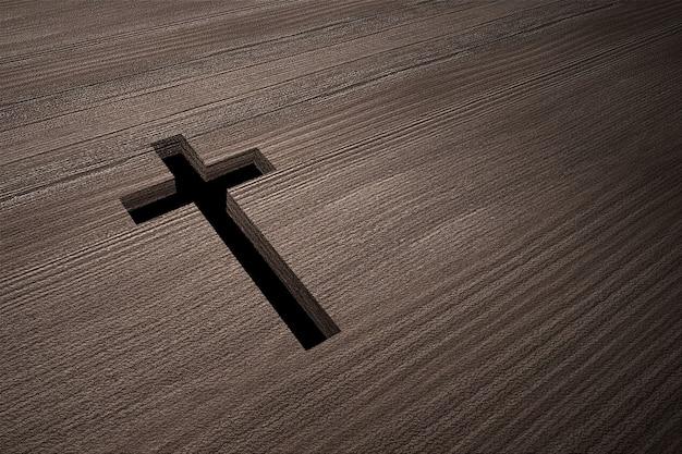 Drewniana podłoga w kształcie krzyża chrześcijańskiego z czarnym tłem