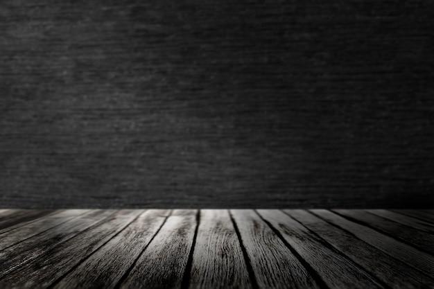 Drewniana podłoga z czarnym tłem produktu ściennego