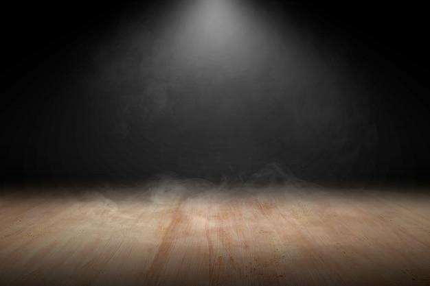 Drewniana podłoga z dymem i światłem