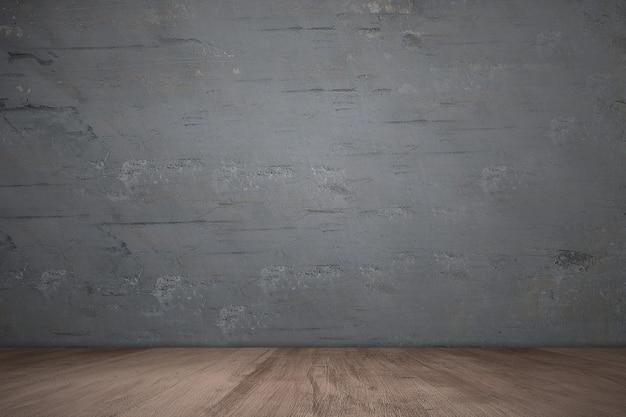 Drewniana podłoga z grunge czarnej ścianie