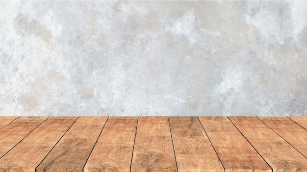 Drewniana półka ze starego cementu. tło ściany betonowej