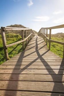 Drewniana promenada w słoneczny dzień na tle pól