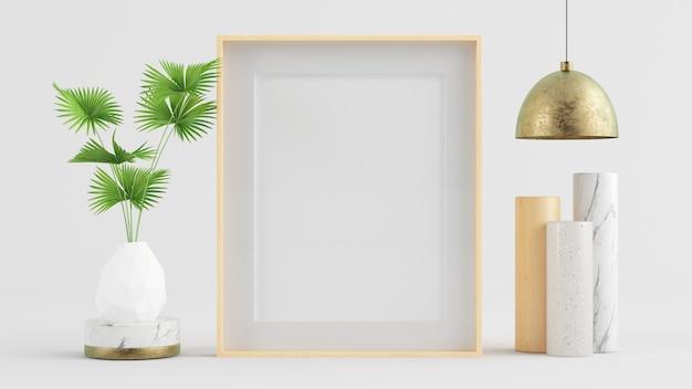 Drewniana rama makieta z lampą, rośliną i surrealistyczną grafiką renderowania 3d
