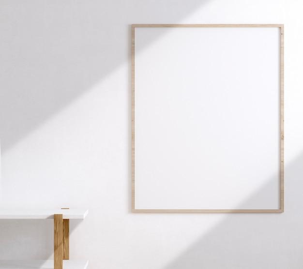 Drewniana rama na białej ścianie