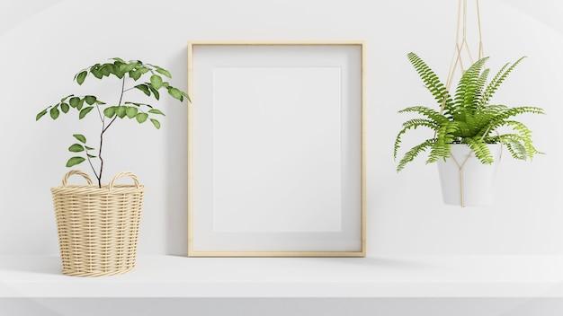 Drewniana rama plakatowa na półce makiety otoczona zielonymi roślinami renderowania 3d