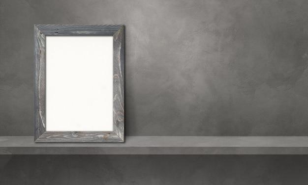Drewniana ramka na zdjęcia oparta na szarej półce. ilustracja 3d. pusty szablon makiety. baner poziomy