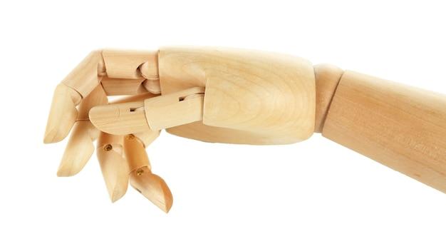 Drewniana ręka na białym tle