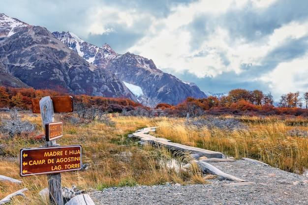 Drewniana ścieżka do glaciar piedras blancas i buków. park narodowy los glaciares. patagonia