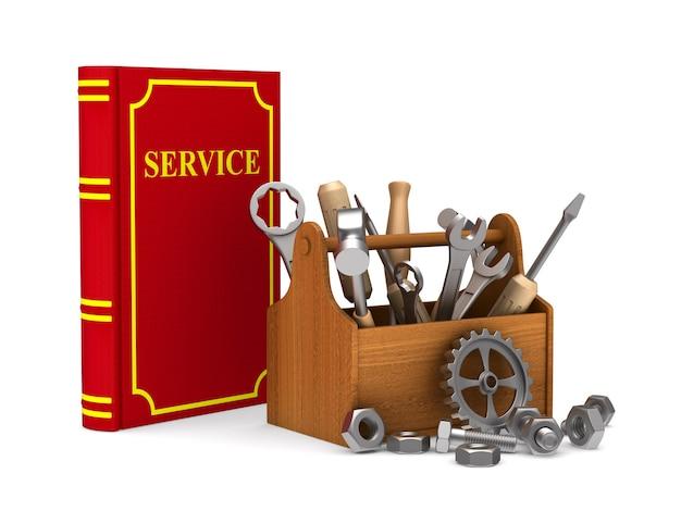 Drewniana skrzynka narzędziowa z narzędziami i czerwoną książką serwisową. ilustracja 3d