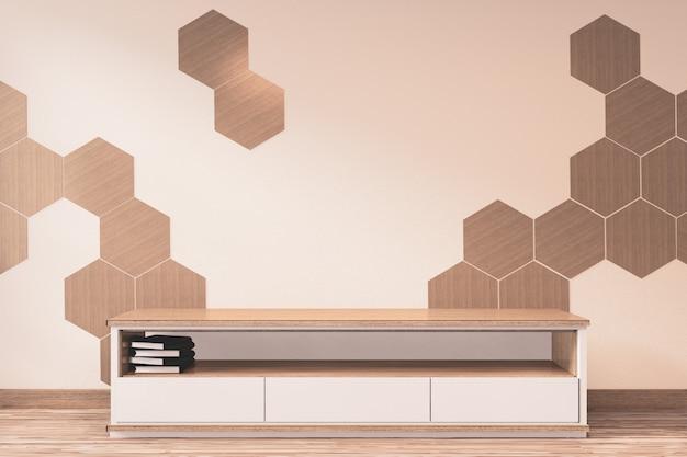 Drewniana szafka tv z drewnianymi sześciokątnymi płytkami na ściennym japońskim stylu