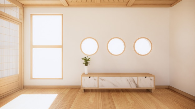 Drewniana szafka w nowoczesnym pustym pokoju i biała ściana na białym tropikalnym pokoju. renderowania 3d