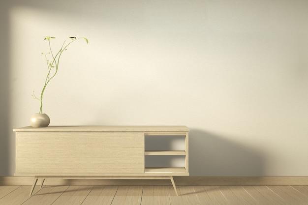 Drewniana szafka w nowoczesnym pustym pokoju w stylu japońskim - zen, minimalne wzory. renderowanie 3d